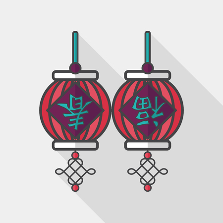 spring festival couplets: Chinese New Year flat icon with long shadow, Chinese festival couplets with lantern means  wish good luck and Spring comes. Illustration