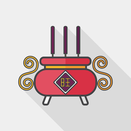 Chinese censer flat icon with long shadow