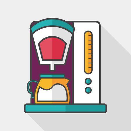 coffee machine flat icon with long shadow  向量圖像