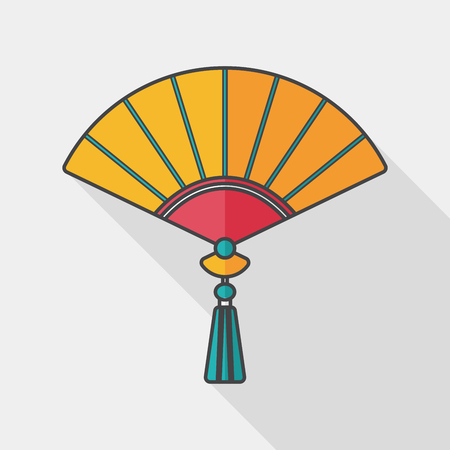 open fan: Chinese New Year flat icon with long shadow, Chinese folding fan means  win speedy success.