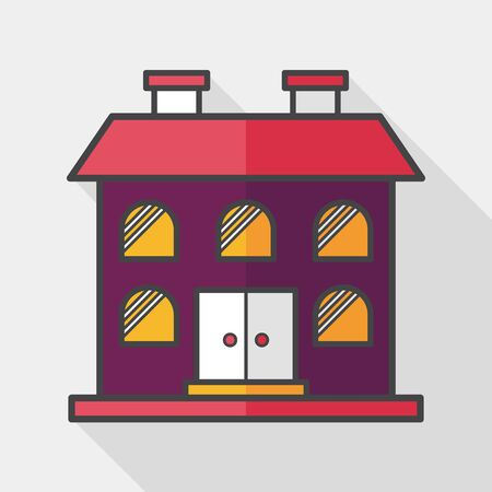 residential structure: Building flat icon with long shadow  Illustration