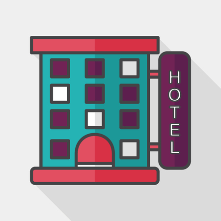 hotel building: Building hotel flat icon with long shadow