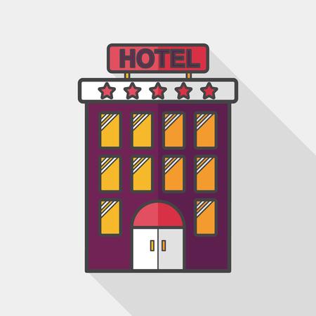 長い影と建物ホテル フラット アイコン