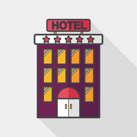 Building hotel flat icon with long shadow