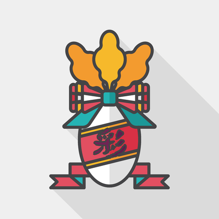 chines: Chinese New Year flat icon with long shadow, lucky white radish with Chinese words means  Wish it can brings luck to you in the new year. Illustration
