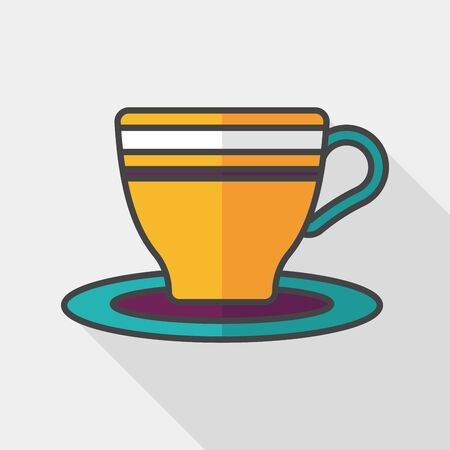 lliquid: coffee cup flat icon with long shadow  Illustration