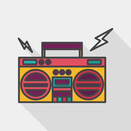 ghetto blaster audio flat icon with long shadow  Illustration
