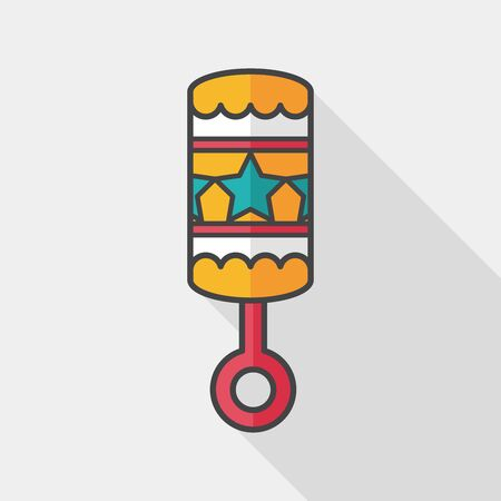 baby rattle: baby rattle flat icon with long shadow