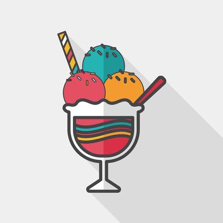 chock: ice cream flat icon with long shadow  Illustration