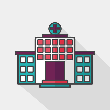 hospitalization: building hospital flat icon with long shadow  Illustration