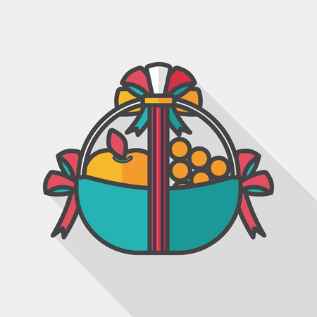 fruits in a basket: Fruit gift baskets flat icon with long shadow