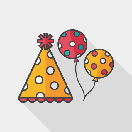 hat: birthday party hat flat icon with long shadow