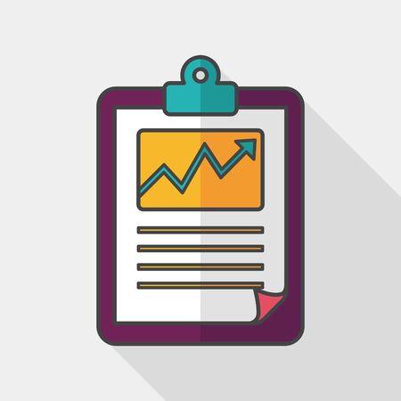 ganancias: icono de la carta plana del negocio con una larga sombra