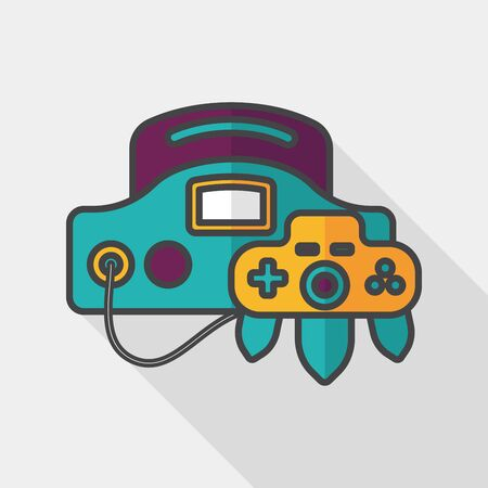 handheld device: Handheld game consoles flat icon with long shadow,