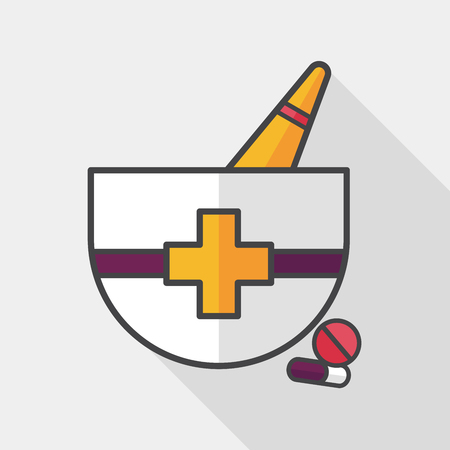 pestle: mortar and pestle flat icon with long shadow, Illustration