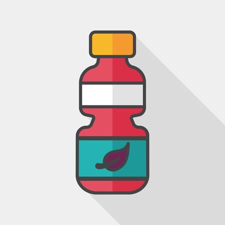 recycled water: Environmental protection concept flat icon with long shadow, Recycled water bottle