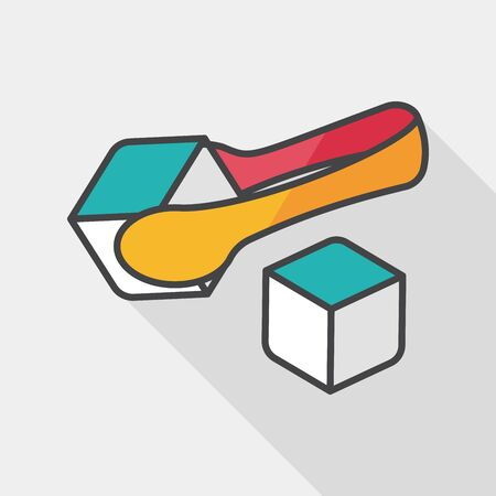 sweetener: Sugar cubes flat icon with long shadow