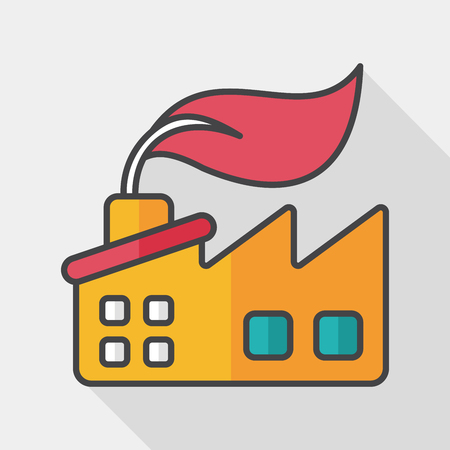 Environmental protection concept flat icon with long shadow, The factory do well on emission to not pollute the air and environment