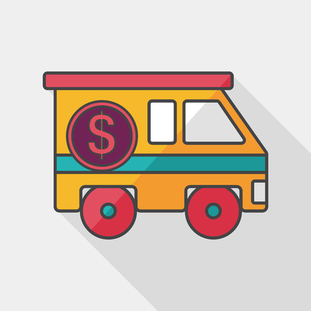 Armored car flat icon with long shadow Illustration