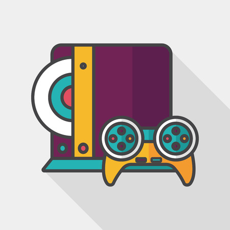 cable tv: Game consoles flat icon with long shadow Illustration