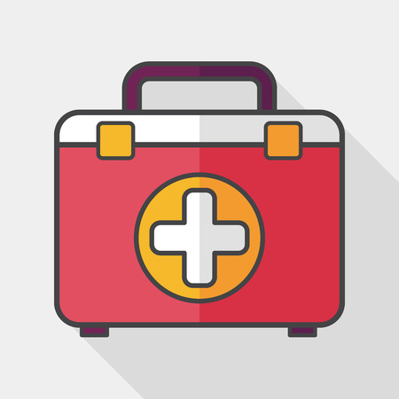 first aid kit: botiqu�n de primeros auxilios icono plana con una larga sombra,