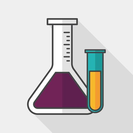 chemistry lab: test tube flat icon with long shadow,
