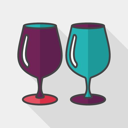 glass cup: kitchenware glass cup flat icon with long shadow, Illustration