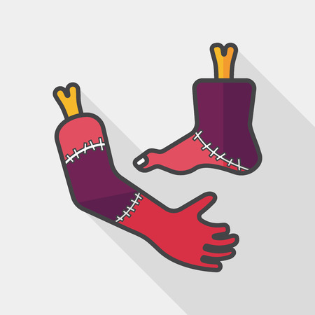 Halloween hand and leg flat icon with long shadow, Illustration