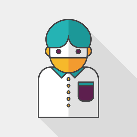 diseased: Patient flat icon with long shadow Illustration