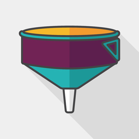 funnel: kitchenware funnel flat icon with long shadow Illustration
