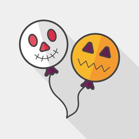 ballooning: Halloween balloons flat icon with long shadow