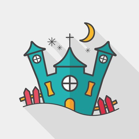 Halloween house flat icon with long shadow