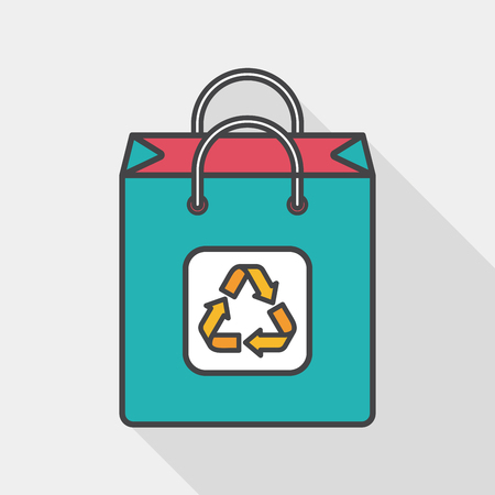 environmental protection: Environmental protection concept flat icon with long shadow
