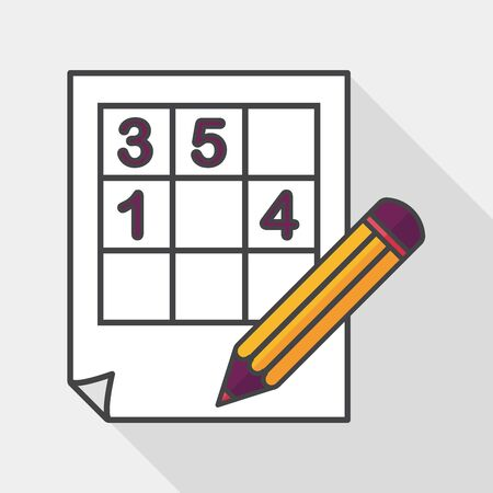 difficulties: Sudoku flat icon with long shadow