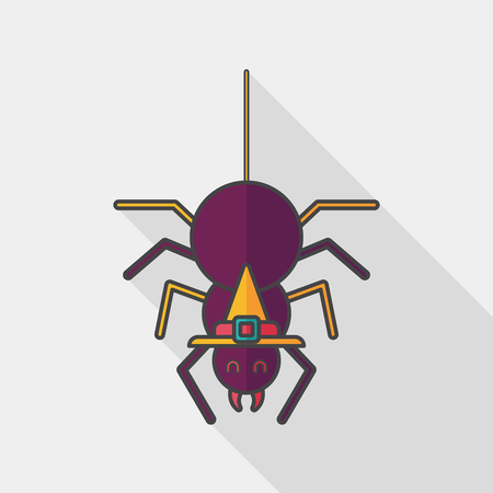 halloween spider: Halloween Spider flat icon with long shadow,