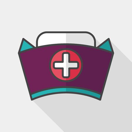 nursing clothes: nurse hat flat icon with long shadow