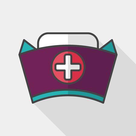 nurse hat: nurse hat flat icon with long shadow