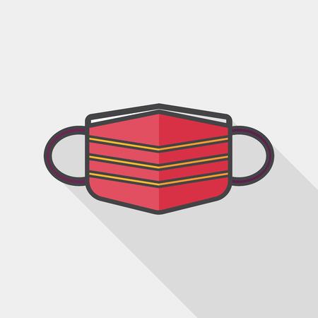 antifaz: médica icono plana máscara con larga sombra