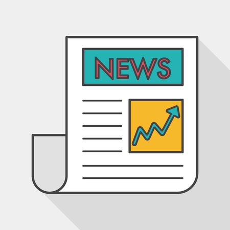 newsprint: financial news flat icon with long shadow