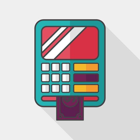 automatic transaction machine: ATM icono plana con larga sombra, Vectores