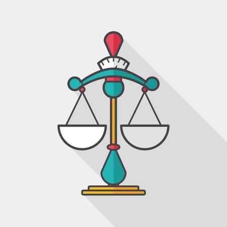 punishing: Balance flat icon with long shadow
