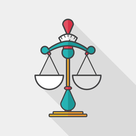 ungleichgewicht: Balancieren Flach Symbol mit langen Schatten