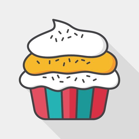 vintage design: cupcake flat icon with long shadow