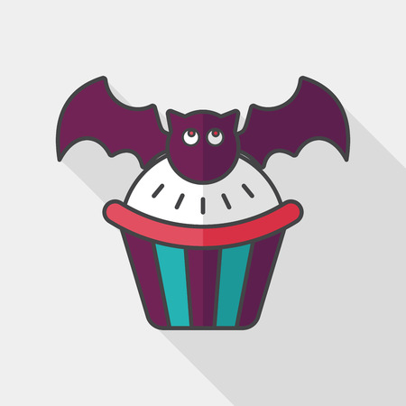 viewpoints: Halloween cupcakes with bat flat icon with long shadow