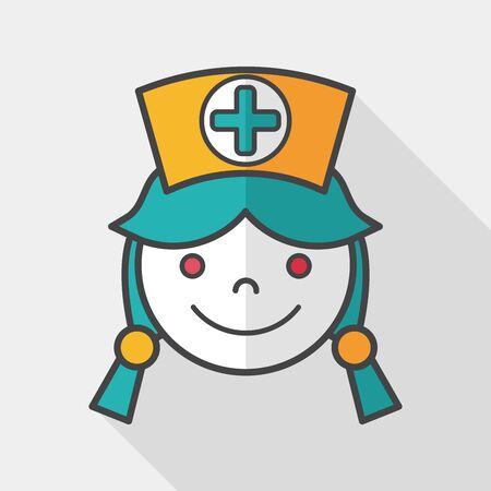nurse home: Medical nurse flat icon with long shadow