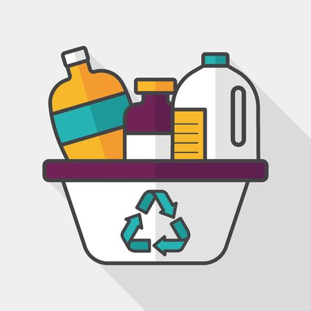 additives: Environmental protection concept flat icon with long shadow, No chemical additives cleaners. Illustration