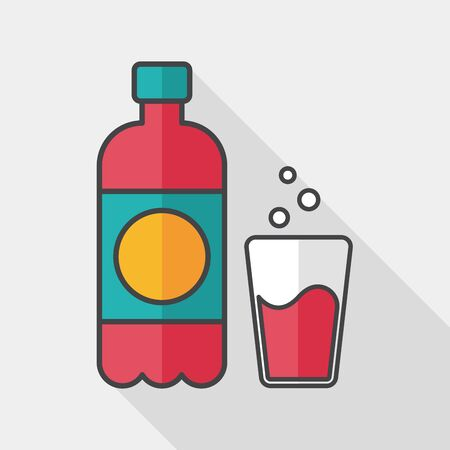 plastic straw: soda drink flat icon with long shadow,