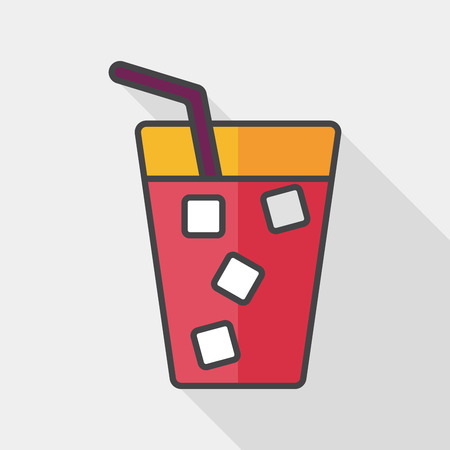 plastic straw: soda drink flat icon with long shadow