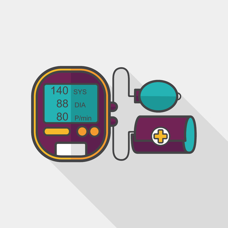 blood pressure bulb: sphygmomanometer blood pressure flat icon with long shadow