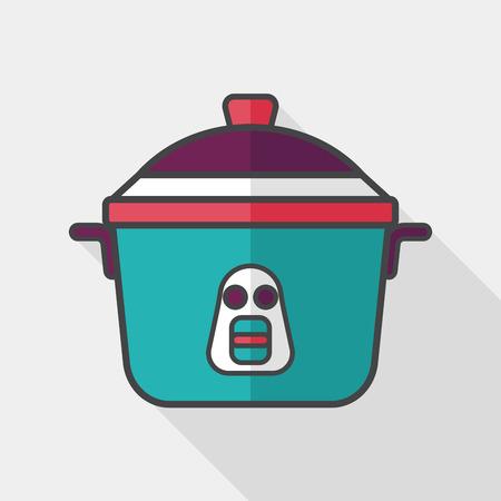 rice cooker: icono plana de cocina olla de arroz con una larga sombra, Vectores